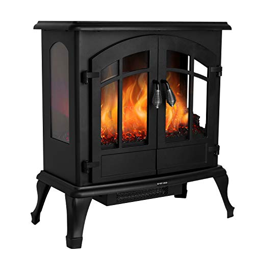 "MVPower 25"" Electric Fireplace Stoves with 3D Realistic Flame Effect, Portable 1500W Indoor Space Freestanding Heater with Overheating Safety Protection"
