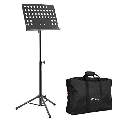 Price comparison product image Tiger MUS7 Orchestral Sheet Music Stand & Bag Pack Heavy Duty All Metal Construction Ideal for Schools,  Orchestras