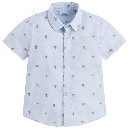 Mayoral - Jungenhemd Hemd Kurzarm Palmen, hellblau - 3148, Größe 128