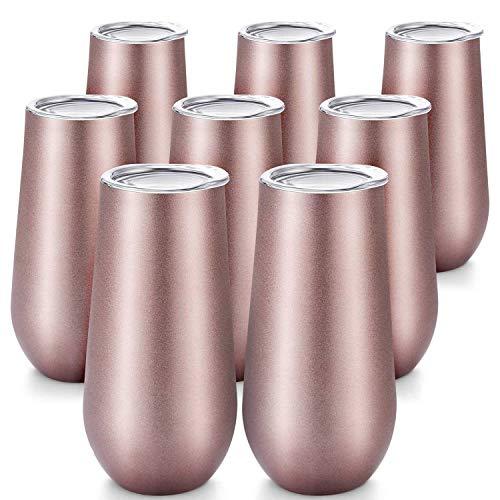 WANWE Vaso de Vino con Flautas de ChampáN, 8 Paquetes, Vaso de Vino con Doble Aislamiento de 6 Oz con Tapas, Tazas de CóCtel Irrompibles