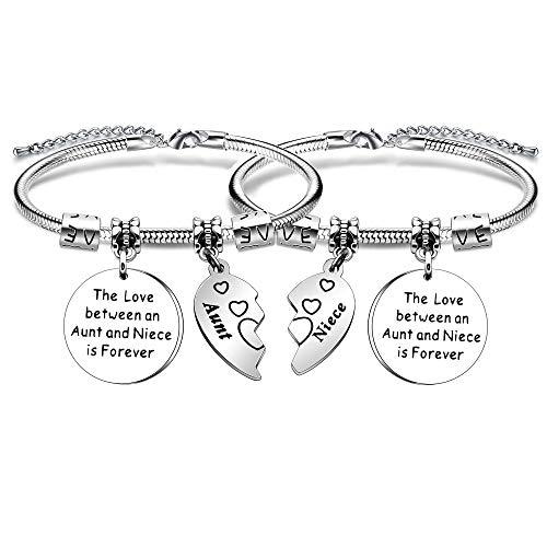 YONGHUI 2 pulseras ajustables con abalorios de serpiente para mujeres, adolescentes, niñas, el amor entre una tía y una sobrina es para siempre, regalo de Navidad, plata