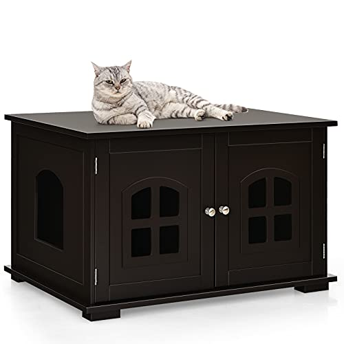 Tangkula Cat Litter Box Enclosure, Nightstand Cat House w/Double Doors & Windows, Cat Washroom...