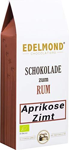 Schokolade zum Rum: Aprikose Zimt. Von Edelmond langzeitgeführte Schokolade als Geschenk für Papa zur Rumspirituose