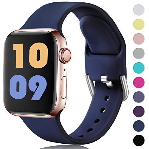 Ouwegaga Compatible con Apple Watch Correa 38mm 42mm 40mm 44mm, Correa de Reemplazo Deportiva de Silicona Suave Compatible con iWatch Series 5/4/3/2/1, 42mm/44mm M/L Marino Azul