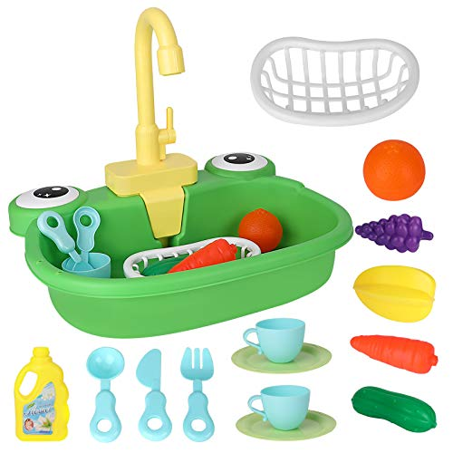 CestMall Küchenzubehör Kinder, Wash Up-Küchensets mit Wasserhahn und Küchenzubehör Rollenspielspiel für Kinder Rollenspielspiel für Kinder Rollenspielset für Kinder Kleinkind Jungen Jungen Mädchen