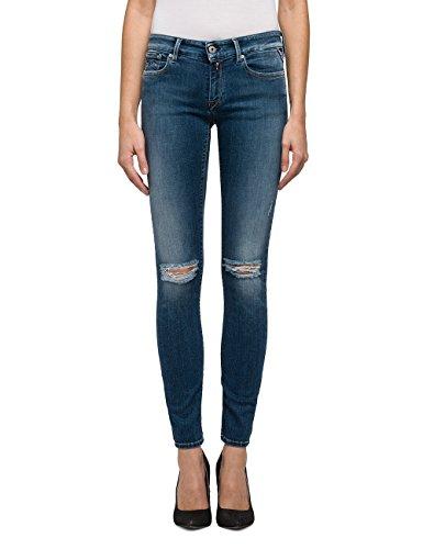 Replay Damen LUZ-WX689 .000.71B955R Skinny Jeans, Blau (Mid Blue/Destroyed 9), W24/L32 (Herstellergröße: 24)