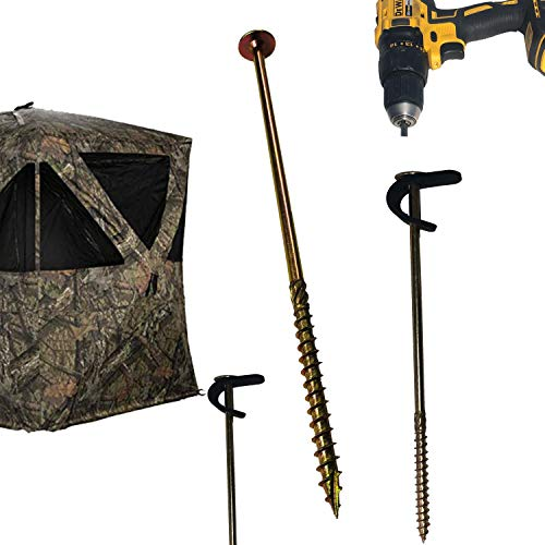 Keyfit Tools Hunting Blind Power Anchors (8 Pack) Self Drilling Steel Stakes for Ground Blinds Permanent Or Not Drill in Drill Out Super Fast Comes with Secura Strap