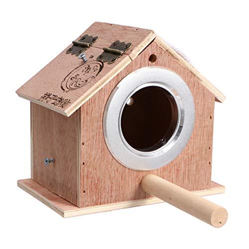 iplusmile Vogel Nestkast Houten Vogelhuisje Met Standaard Vogelnest Kooi Voor Tortelduifjes Valkparkiet Papegaai Conure Maat S (Beige)