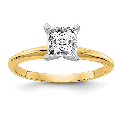 14k Yellow Gold 2ct. G H I True Princess Moissanite Solitaire Band Ring Size 7.00 Engagement Gsh Gshx Fine Jewellery For Women Mothers Day Gifts For Her