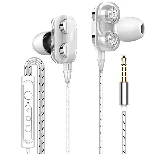 Universele Subwoofer Hoofdtelefoon met Microfoon X12 3.5MM Headset Dubbele Bewegende Coil Quad Core Oortelefoon Draad Controle Dedicated Subwoofer Headset