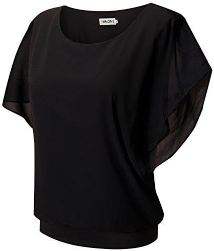 HIMONE Damen Sommer Casual Loose Fit Kurzarm Fledermaus Batwing T-Shirt Shirt Chiffon Top Bluse (42,Schwarz)