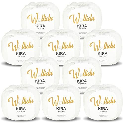 Wollidu Kira Lot de 10 pelotes de fil à tricoter et à crochet 100 % coton Blanc 50 g