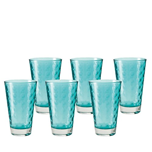 Leonardo Optic Becher groß Laguna, 6-er Set, 300 ml, türkisfarbenes Klarglas mit Colori-Hydroglasur, 018009