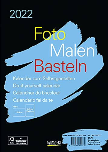 Foto-Malen-Basteln Bastelkalender A5 schwarz 2022: Fotokalender zum Selbstgestalten. Aufstellbarer do-it-yourself Kalender mit festem Fotokarton.