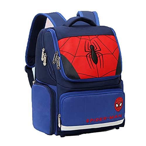 Xyh723 Mochila De Spider-Man para Niños Superhéroe para Fanáticos Películas Escolar Primaria Dibujos Animados Viajes para Jóvenes Maleta Vacaciones Regalo Cumpleaños,Blue-One Size
