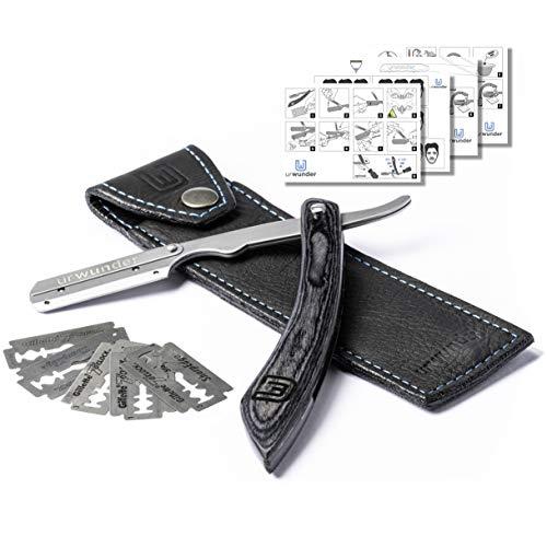 Präzises Premium-Rasiermesser + Hochwertiges Echtleder-Etui + Einfache Anleitungen + Scharfe Wechselklingen | urwunder Shavio | Perfekt rasieren (Silber matt/anthrazit)