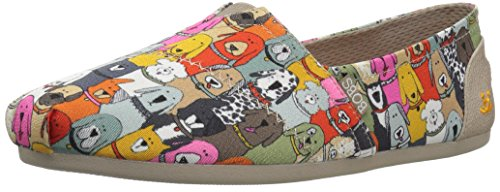 Skechers BOBS Women's Plush-Wag Party Flat, Multi, 6 M US