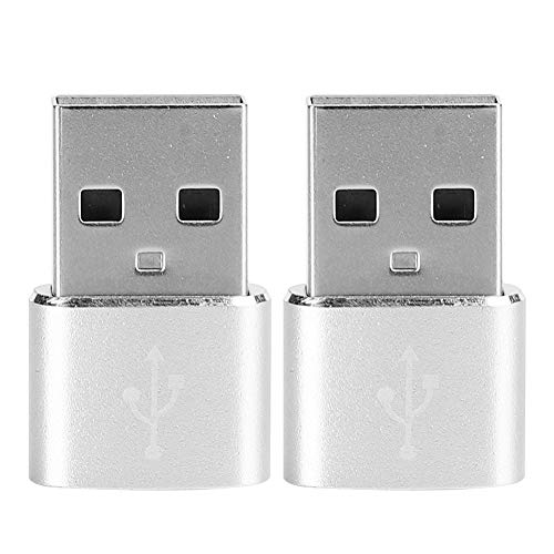 Type-C Female to USB Male Adapter, 2-Pack Drivefree Type-C to A Converter Compatible with OTG, Multi Function Support for Charging Data Transfer(Silver)