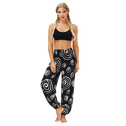 BIKETAFUWY Spodnie damskie w stylu hippie do jogi, patchwork, spodnie haremki, kolorowe wzory, z wzorem boho, spodnie na czas wolny, letnie, spodnie alladynkowe, styl Baggy, Harem, z elastycznym ściągaczem, rozmiar uniwersalny