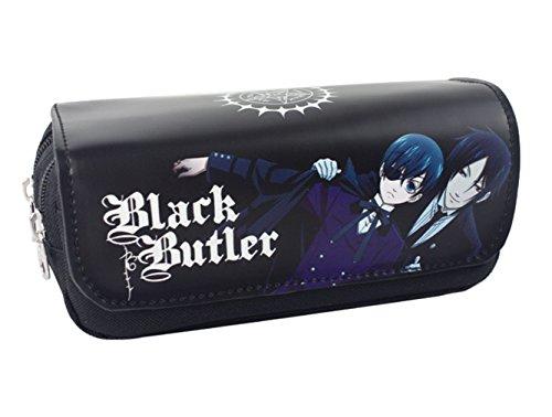New Design Schwarzer Butler Anime Cosplay doppellagige Bleistift Fall-Feder-Kasten-Feder-Beutel für Studenten Teen