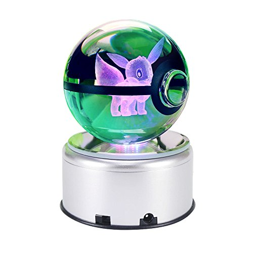3D Cool Laser Etching Crystal Ball Night Light Gift Lamp for Kids Children Christmas (Eevee)