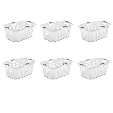 Sterilite 12168006 2 Bushel 71L Ultra Laundry Basket, White w/Titanium handles, 6 pack