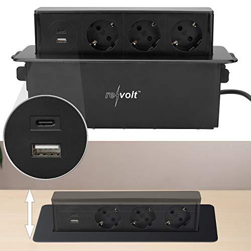 revolt Versenkbare Steckdose: Versenkbare 3-fach Einbau-Tischsteckdose, USB-C, PD & QC 3.0, schwarz (Tisch-Steckdosen USB versenkbar)
