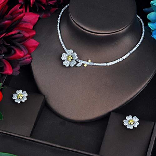 Mujeres Elegantes Juegos De Joyería Nupcial Micro CZ Pave Necklace Set Beauty Flower Design Yellow Jewelry Party Regalos yangain (Color : Platinum Plated)