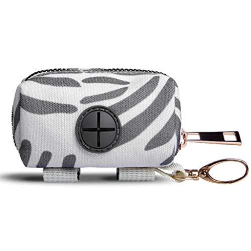 Dog Poop Bag Holder Pet Garbage Bag Dispenser Holder Leash Attachment, 600d Oxford Cloth, Durable Metal Zipper Portable Waste Bag Dispenser, Suitable for Any Belt, White Grey