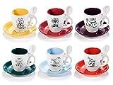 Juego completo de 6 tazas de café express de cerámica multicolor con sus platillos y cucharas a juego.