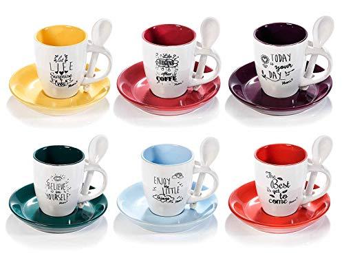 Espressotassen aus Keramik 80 ml. Komplettes Set mit 6 bunten Keramik-Tassen mit passenden Untertassen und Löffeln.