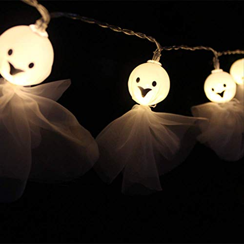 CFLFDC Lichtsnoer stof Halloween Ghost Lights String LED Ghost Face decoratieve lamp snoer batterij 1 m 10 warm wit licht