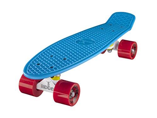 Ridge Skateboard 55cm Mini Cruiser Retro-Stil: Ltd Edition Achseln, Komplett U Fertig Montiert, Blau- Weiß- Rot