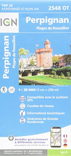 Perpignan.Plages du Roussillon 1:25 000: 2546/OT (Top 25 & série bleue - Carte de randonnée)