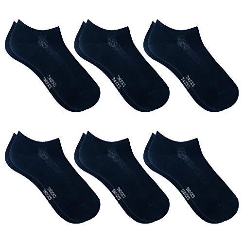 Snocks Sneaker Socken Damen Dunkelblau Größe 39-42 6x Paar Sneaker Socken Herren Damen Sneaker Socken Füßlinge Damen Sneakersocken Damen 39-42