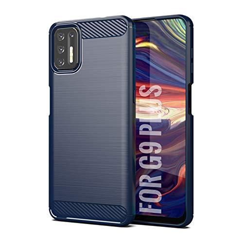 SCL Hülle Für Moto G9 Plus Handyhülle Motorola G9 Plus Hülle Moto G9 Plus, Carbon-Faser Gebürstete Textur Design Schutzhülle mit Anti-Kratzer & Anti-Stoß Absorbtion Technologie [Blau]