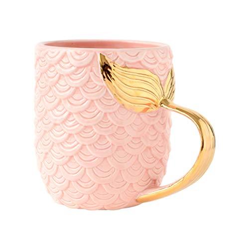 DOITOOL Taza creativa Sirena Taza de café de cerámica dorada con mango de cola de sirena, taza de café, regalo de cumpleaños de boda (rosa)