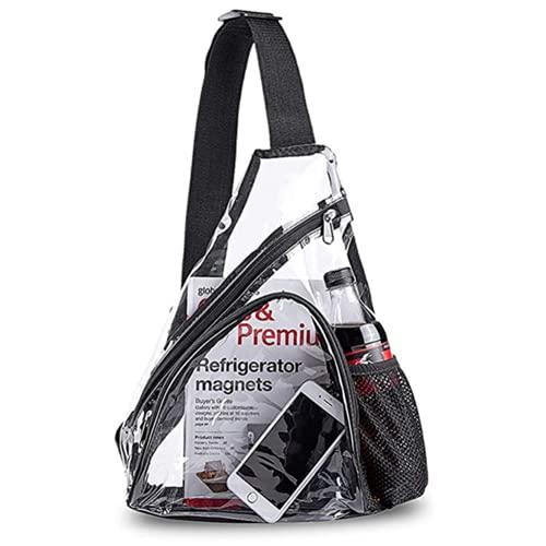 ERYUE Bolsa transparente para el pecho, mochila informal transparente, color negro, talla única