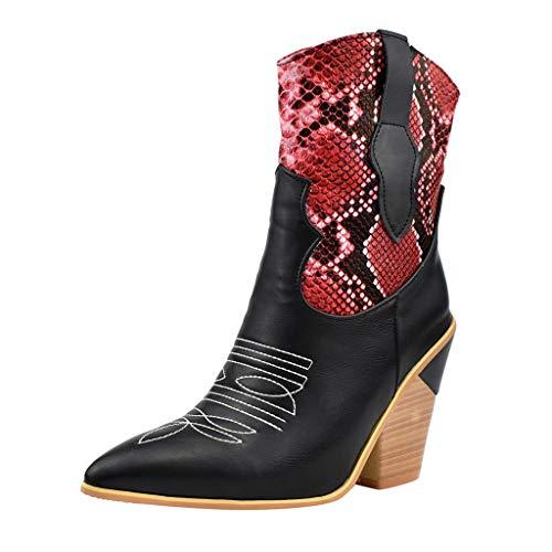 WUSIKY Stiefeletten Damen Bootsschuhe Boots Geschenk für Frauen Retro Back Wedges Schnürstiefel Kniebar Casual Middle Tube Booties