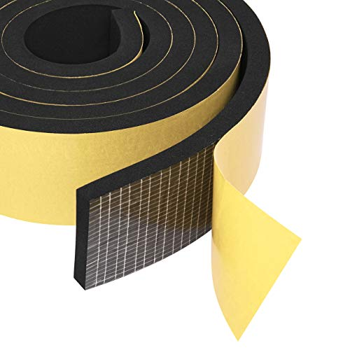 "Self Sticking Foam Insulation Tape 2"" W X 3/8"" T, Weather Strip Seal for RV, Air Conditioner Window, Automotive, Garage Door, 6.5 Ft Length"