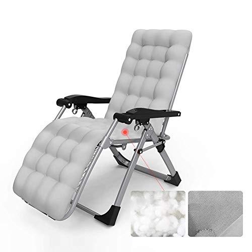 FTFTO Chaise Longue inclinable d'extérieur Office Life, avec Coussins Chaise Zero Gravity Confortable Chaise inclinable réglable Extra Large pour Piscine Patio Garden Beach (Couleur: Gris)