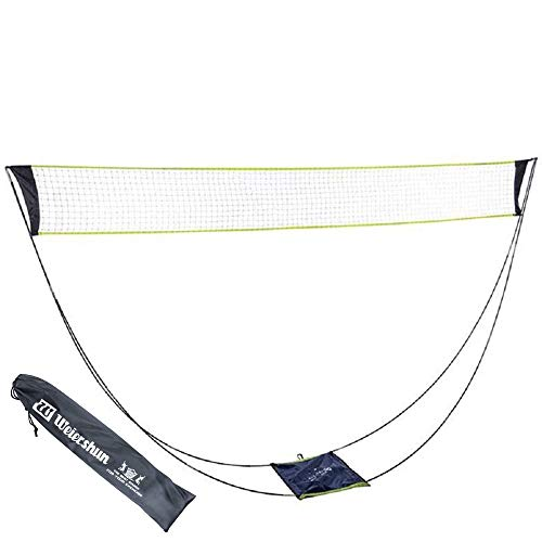 None Brand Portable Badminton Net Set with Stand Carry Bag, Folding Volleyball Tennis Badminton Net – Easy Setup for Outdoor/Indoor Court.