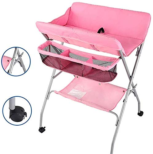 Multifunctionele wieg Kinderen commode met Wheels - Pink Folding Diaper Station for Baby Care, in hoogte verstelbaar Dresser Baby verzorgingstafel