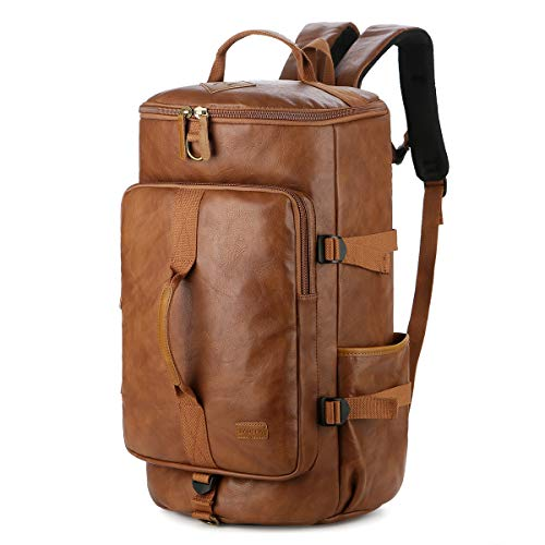 BAOSHA HB-26 3-Ways Leather Men Holdall Weekend Travel Duffel Tote Bag Backpack Shoulder Bags Convertible Travel Hiking Rucksack Overnight Weekender Bag Handbag (Brown)