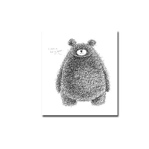 Absrtact Cartoon Netter Bär Löwe Bleistift Skizze Tier Wandkunst Drucke Leinwand Gemälde Geschenk Poster Bilder Kinderzimmer Wohnkultur 30 * 40cm