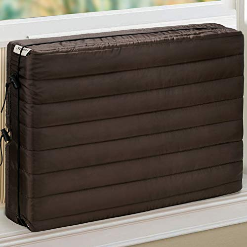 FORSPARK Indoor Air Conditioner Cover, AC Covers for Inside with Free Drawstring, 28 x 20 x 3.5 inches (L x H x D) -Brown