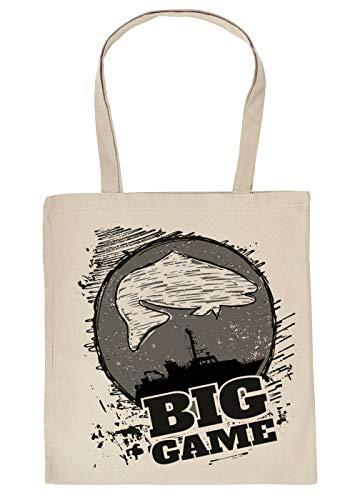 Angler-Sprüche Geschenktasche, Baumwolltasche Hochseefischen, Angeln Motiv : Big Game - Einkaufstasche Angelsport Stofftasche - Farbe : Creme