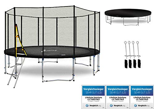 LifeStyle ProAktiv LS-T400-PA13 (SD) Deluxe Trampolino da Giardino 400cm - incl. Rete di Sicurezza 140g/m² - New