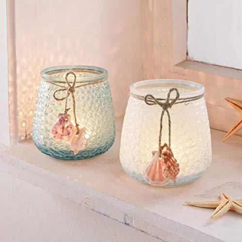 Dekoleidenschaft 2 Windlicht-Gläser Muscheln, hellblau & weiß, maritim, Ø 9 x 10 cm, Kerzenhalter, Teelichtständer