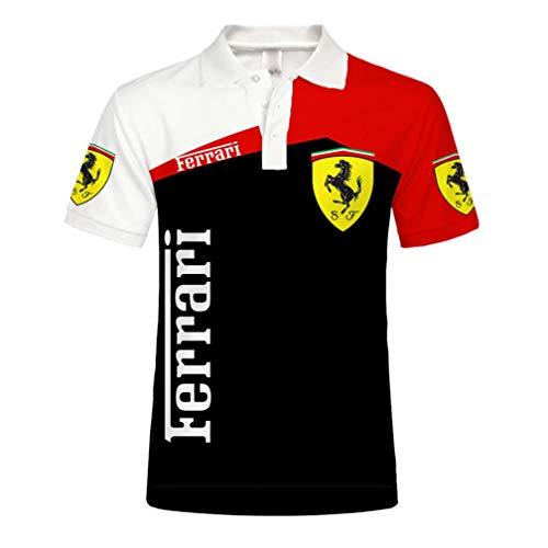 Unisex Herren Sommer Kurzarm Polo Shirt 3D Digital Ferrari Logo Print Top Lässig Sweatshirt (1,L)